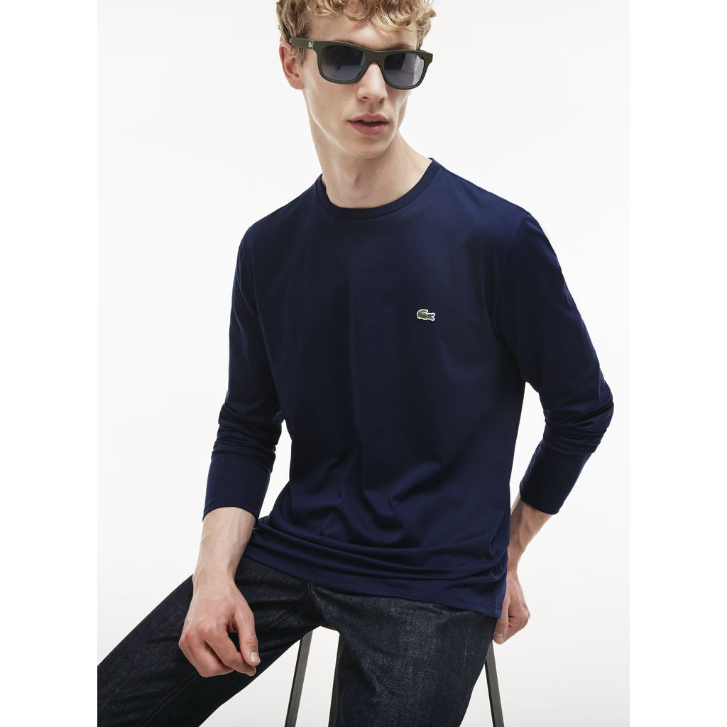 808095e5c0 Lacoste Long Sleeve Pima Men's T-Shirt | Navy Blue