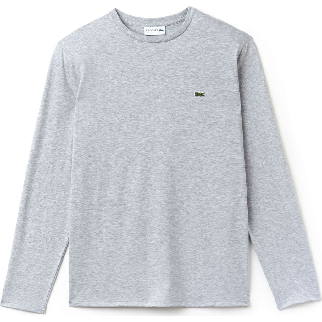 dd317bca5f291e Lacoste Long Sleeve Pima Men s T-Shirt in Silver Chine - Sportique