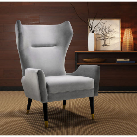 TOV Furniture Logan Velvet Chair | Grey- TOV-A155