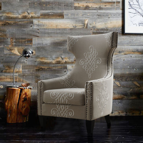 TOV Furniture Gramercy Embroidered Linen Wing Chair | Beige- TOV-A36