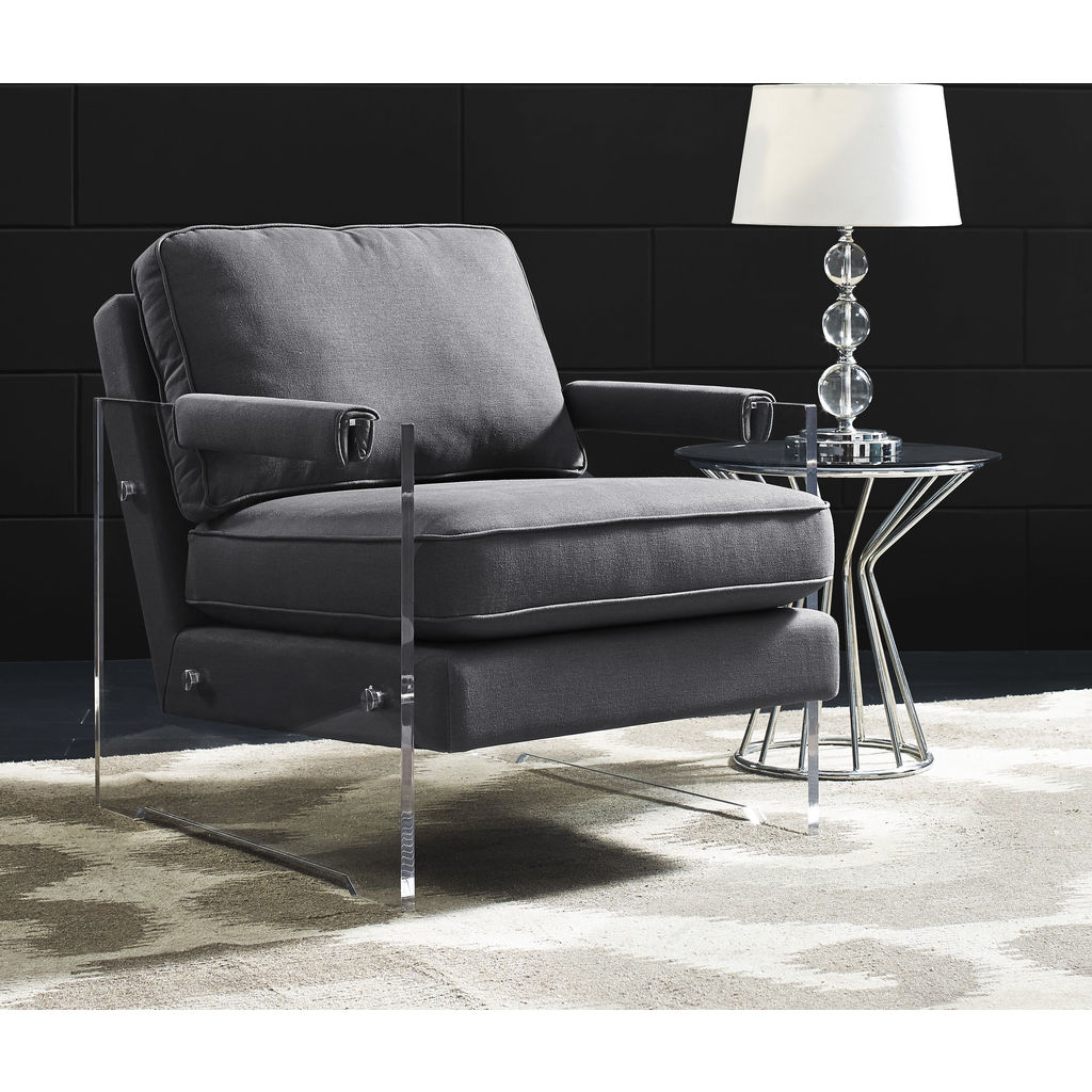 tov furniture serena floating lucite chair grey - sportique