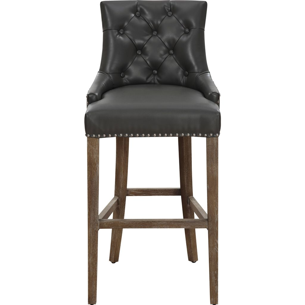 Tov Furniture Uptown Leather Counter Stool Grey Sportique
