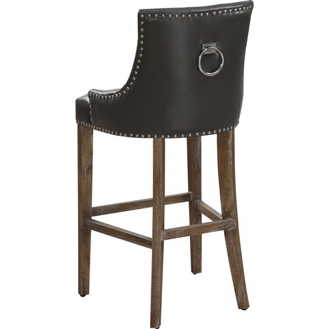 TOV Furniture Uptown Leather Barstool | Grey- TOV-BS-07