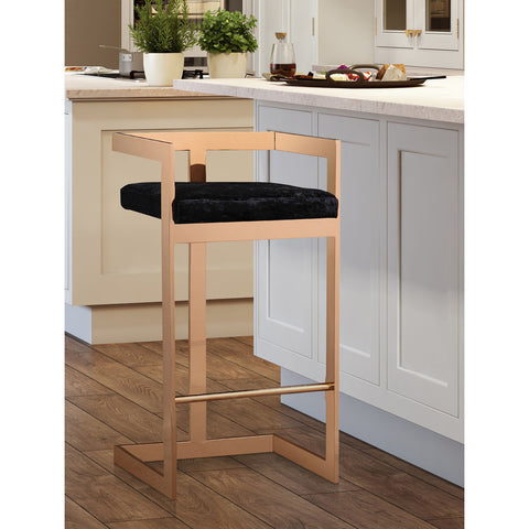 TOV Furniture Marquee Bar Stool | Black, Rose Gold- TOV-G5475