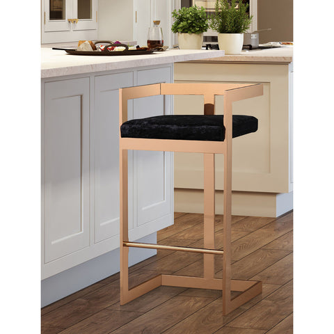 TOV Furniture Marquee Counter Stool | Black, Rose Gold- TOV-G5476