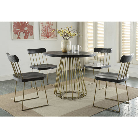 TOV Furniture Madrid Pine Table | Matte black with brush brass- TOV-G5480