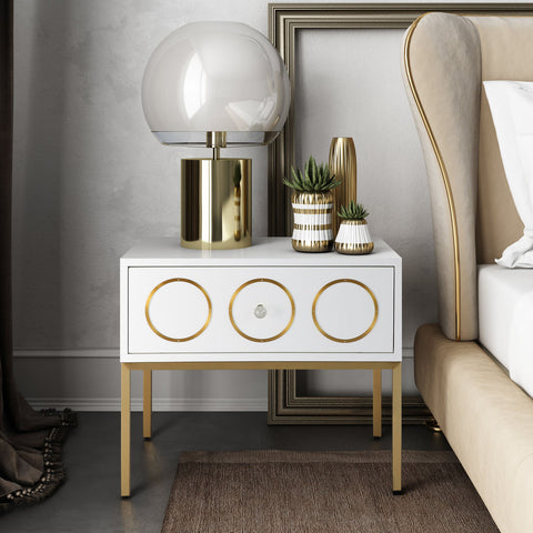 TOV Furniture Ella Side Table | White, Gold- TOV-G5493