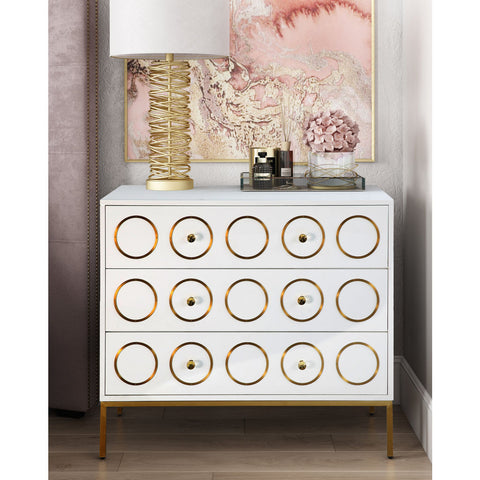 TOV Furniture Ella Chest | White, Gold- TOV-G5494