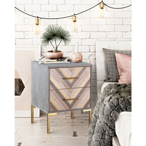 TOV Furniture Quinn Side Table | Grey, Gold- TOV-G5499