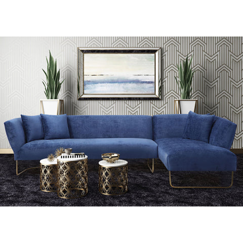 TOV Furniture Caprice Velvet RAF Sectional | Navy- TOV-L6101