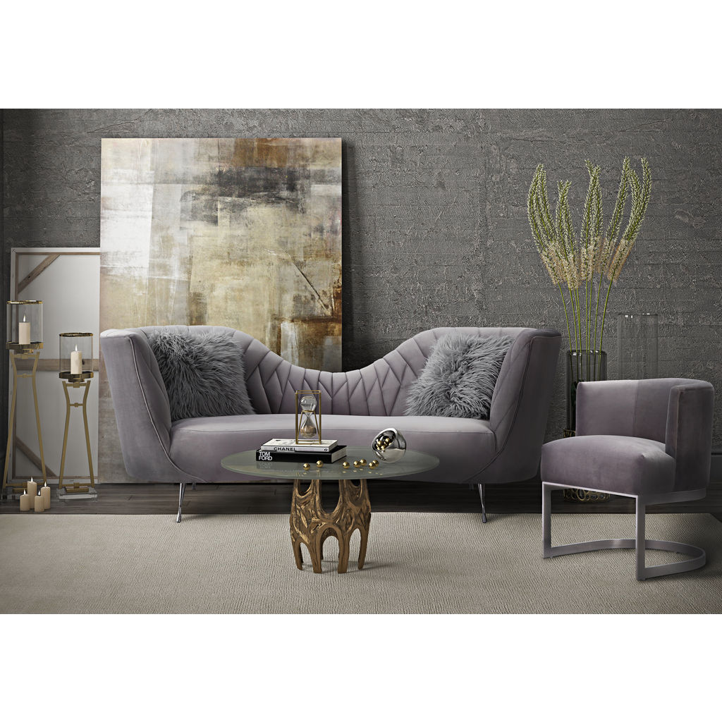 Tov Furniture Eva Velvet Sofa Grey Sportique