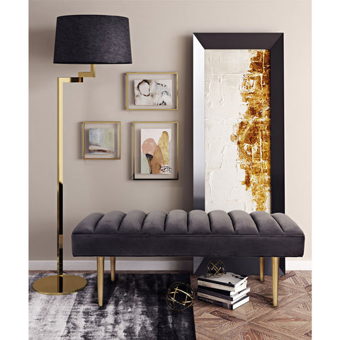 TOV Furniture Jax Velvet Bench | Grey- TOV-O106