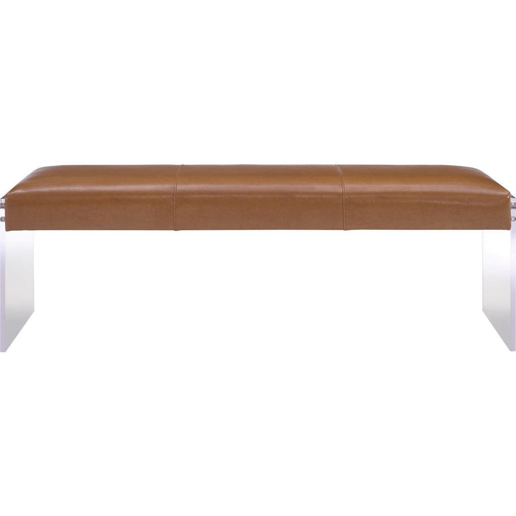 ... TOV Furniture Envy Leather/Acrylic Bench | Brown TOV O28 ...