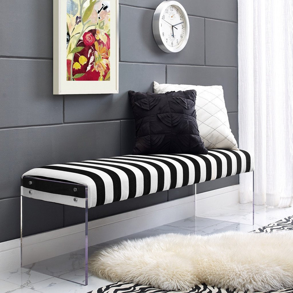 acrylic bedroom furniture. tov furniture envy paris velvet/acrylic bench | black/white tov-o29 acrylic bedroom t
