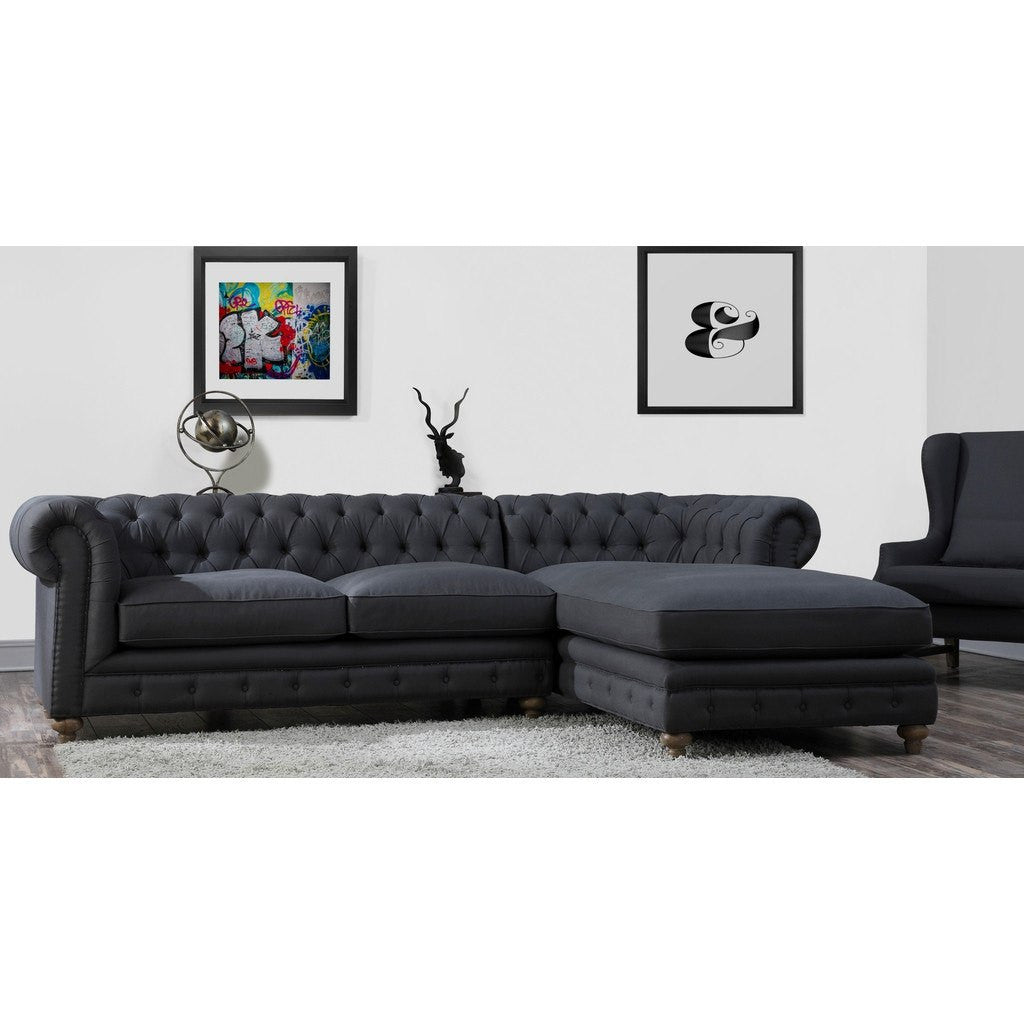 tov furniture oxford linen raf sectional grey tovs34secr - Tov Furniture