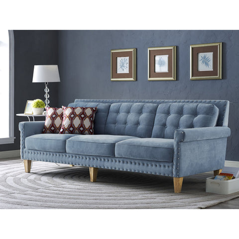 TOV Furniture Jonathan Velvet Sofa | Blue- TOV-S75