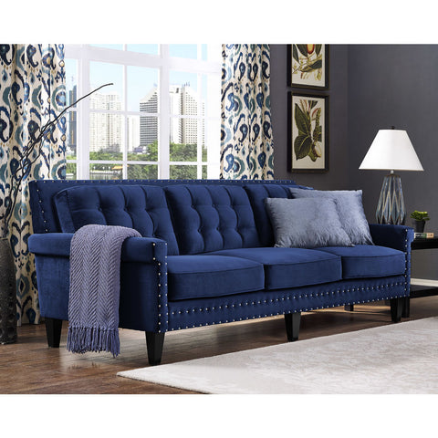 TOV Furniture Jonathan Velvet Sofa | Navy- TOV-S77