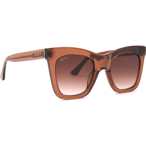 DIFF Eyewear Kaia Sunglasses | Dark Taupe Crystal + Brown Gradient Lens