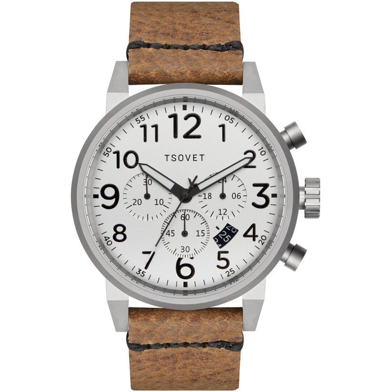 Tsovet JPT-TS44 Japan Quartz Steel & White Chronograph Watch | Tan Leather