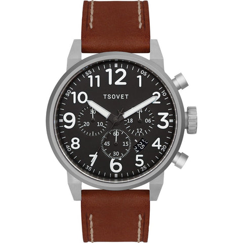 Tsovet JPT-TS44 Silver & Black Chronograph Watch | Brown Leather