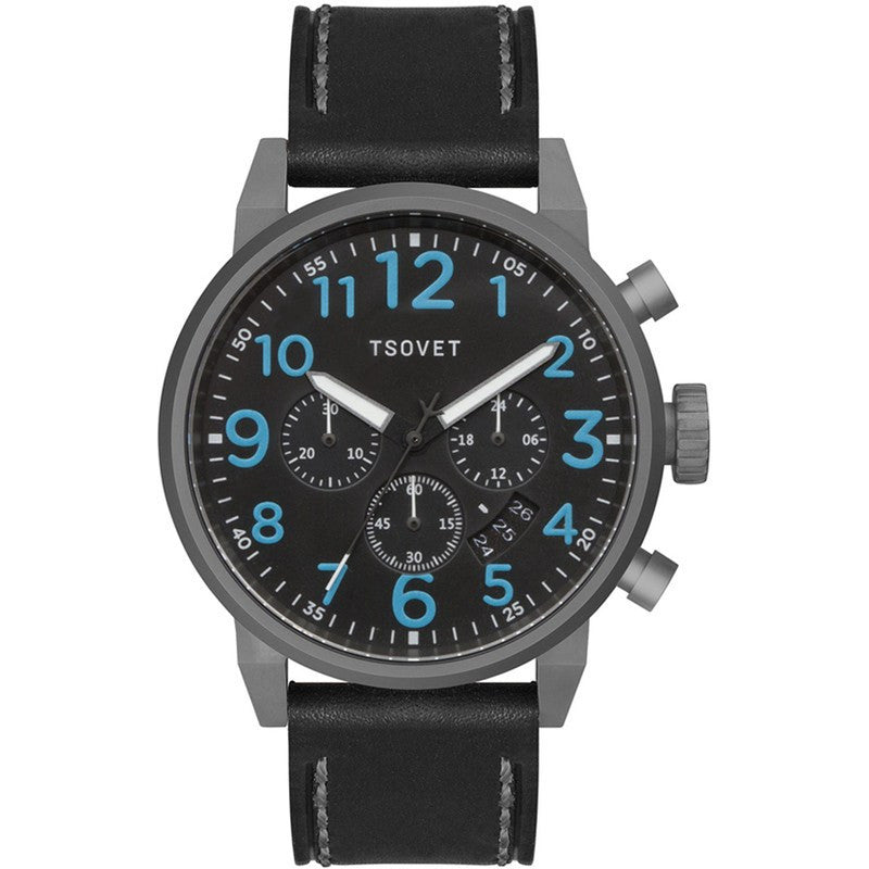 Tsovet JPT-TS44 Japan Quartz Silver & Black Chronograph Watch | Black Leather