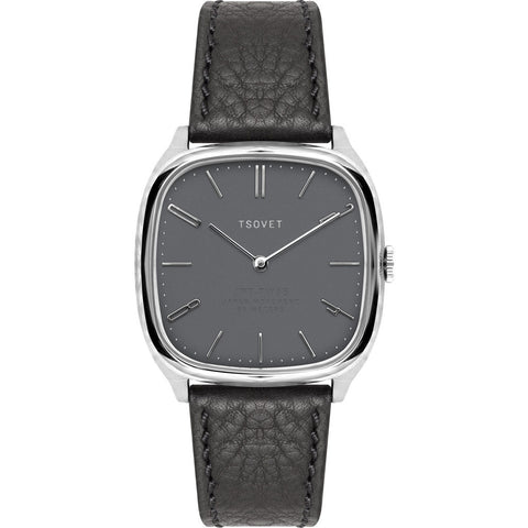 Tsovet JPT-TW35 Steel & Matte Grey Watch | Black Leather