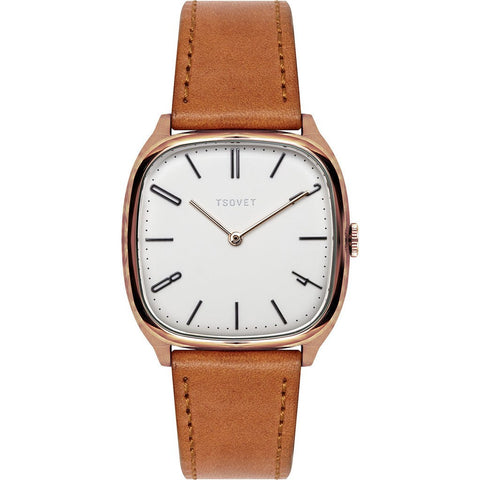 Tsovet JPT-TW35 Rose Gold & Matte White Watch | Tan Leather TW551513-05