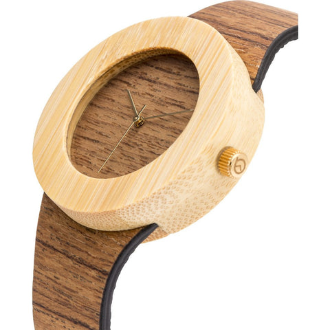 Analog Carpenter Teak & Bamboo Wood Watch | No Markings