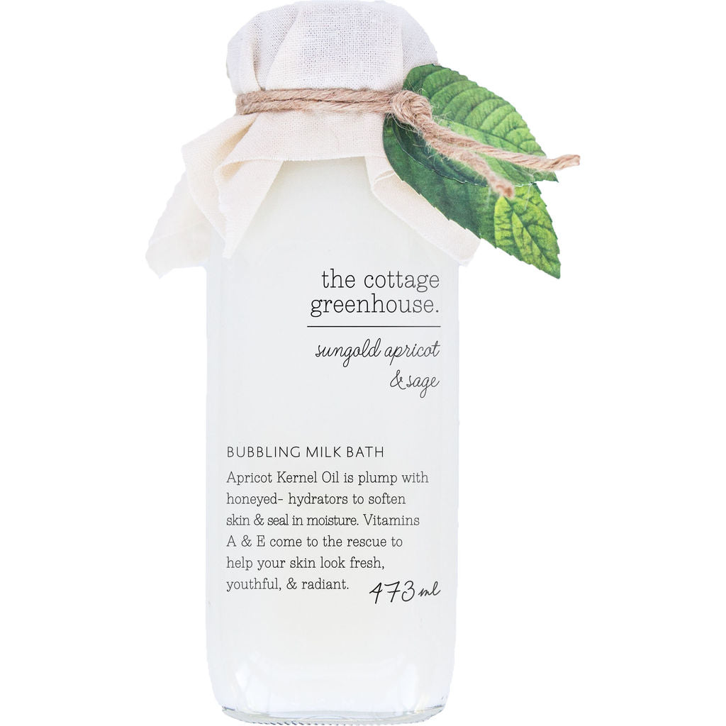 The Cottage Greenhouse Bubbling Milk Bath | Sungold & Sage Apricot- 24R1