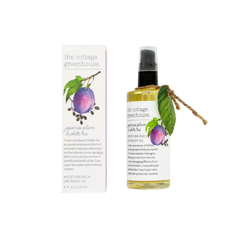 The Cottage Greenhouse Dry Body Oil | Japanese Plum & White Tea