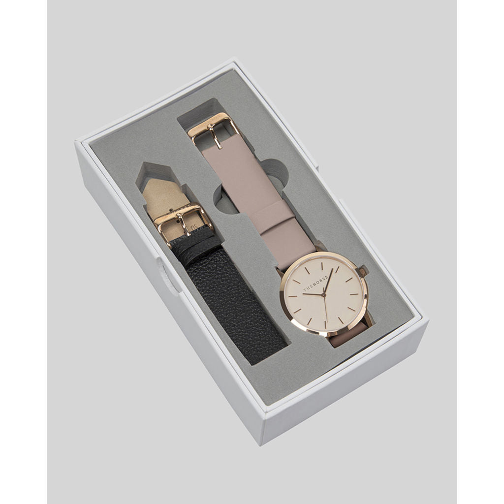 The Horse Original Valentine's Day Watch Gift Box | Black & Blush A14i