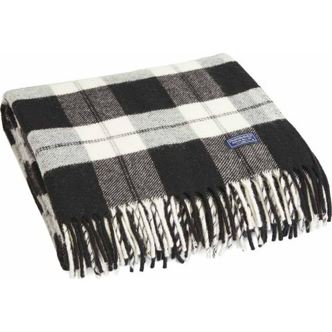 Faribault Bison Check Wool Throw | Black/Natural