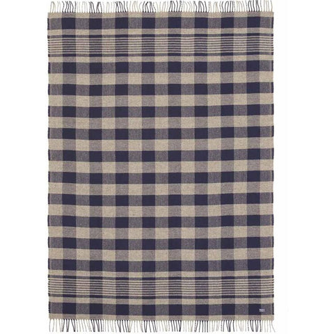 Faribault Plaid Wool Throw | Heather Navy/Heather Gray BTFPNV1574