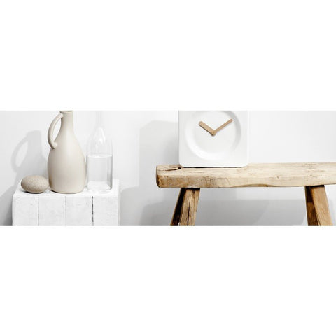 LEFF Amsterdam Tile25 Wall/Desk Clock | White/Bamboo