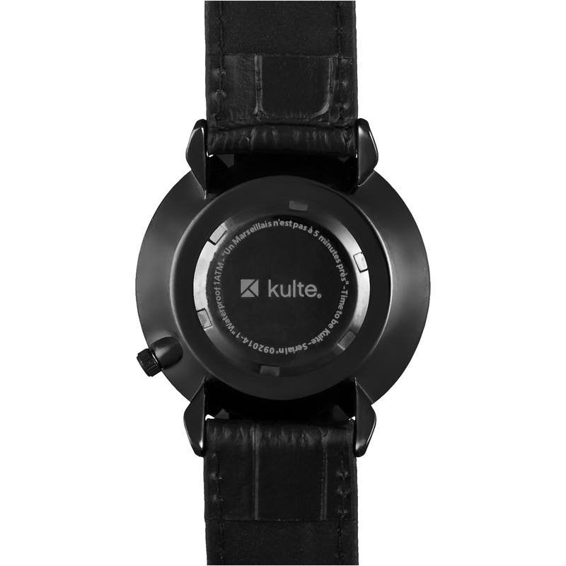 Kulte Time Is Running Out Black Watch | Black Leather KBOIS