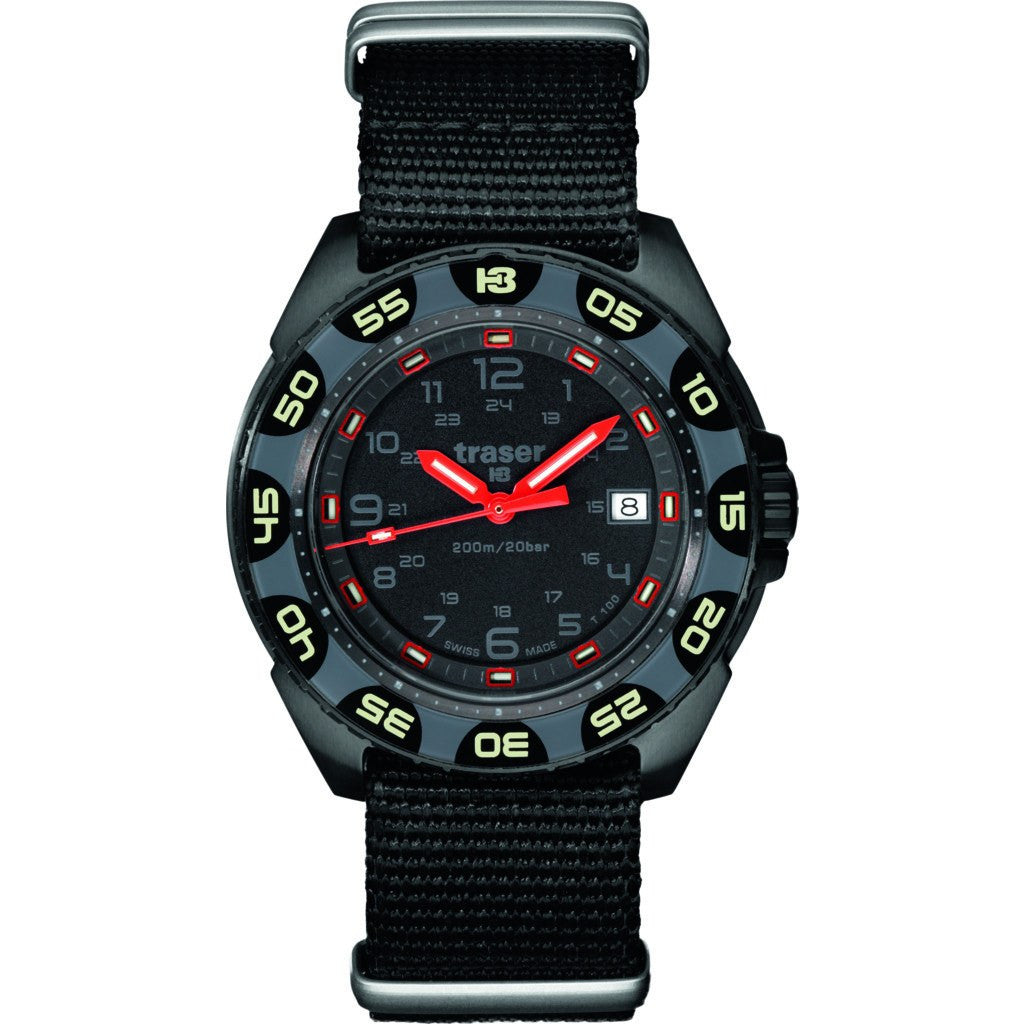 Traser H3 Red Alert T 100 Watch | Nato Strap 106469