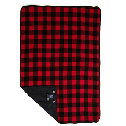 Faribault Buffalo Check Wool Travel Blanket | Red