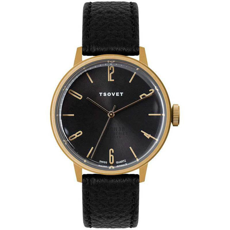 Copy of Tsovet SVT-CN38 Swiss Quartz Gold & Black Watch | Black Leather