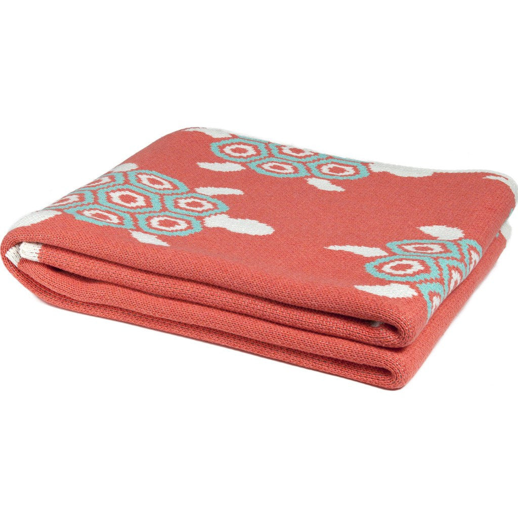 in2green Turtles Eco Throw | Coral/Seafoam BL01TT3