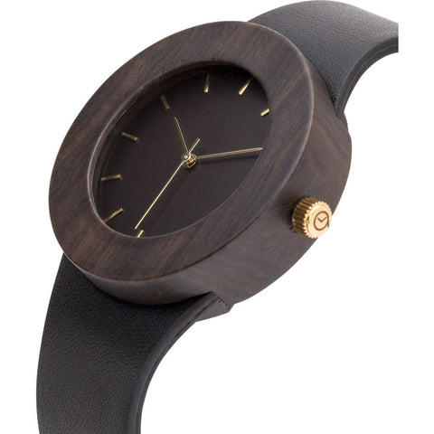 Analog Carpenter Leather & Blackwood Wood Watch | Markings