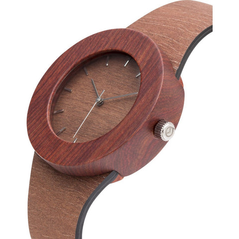 Analog Carpenter Makore & Red Sanders Wood Watch | Markings