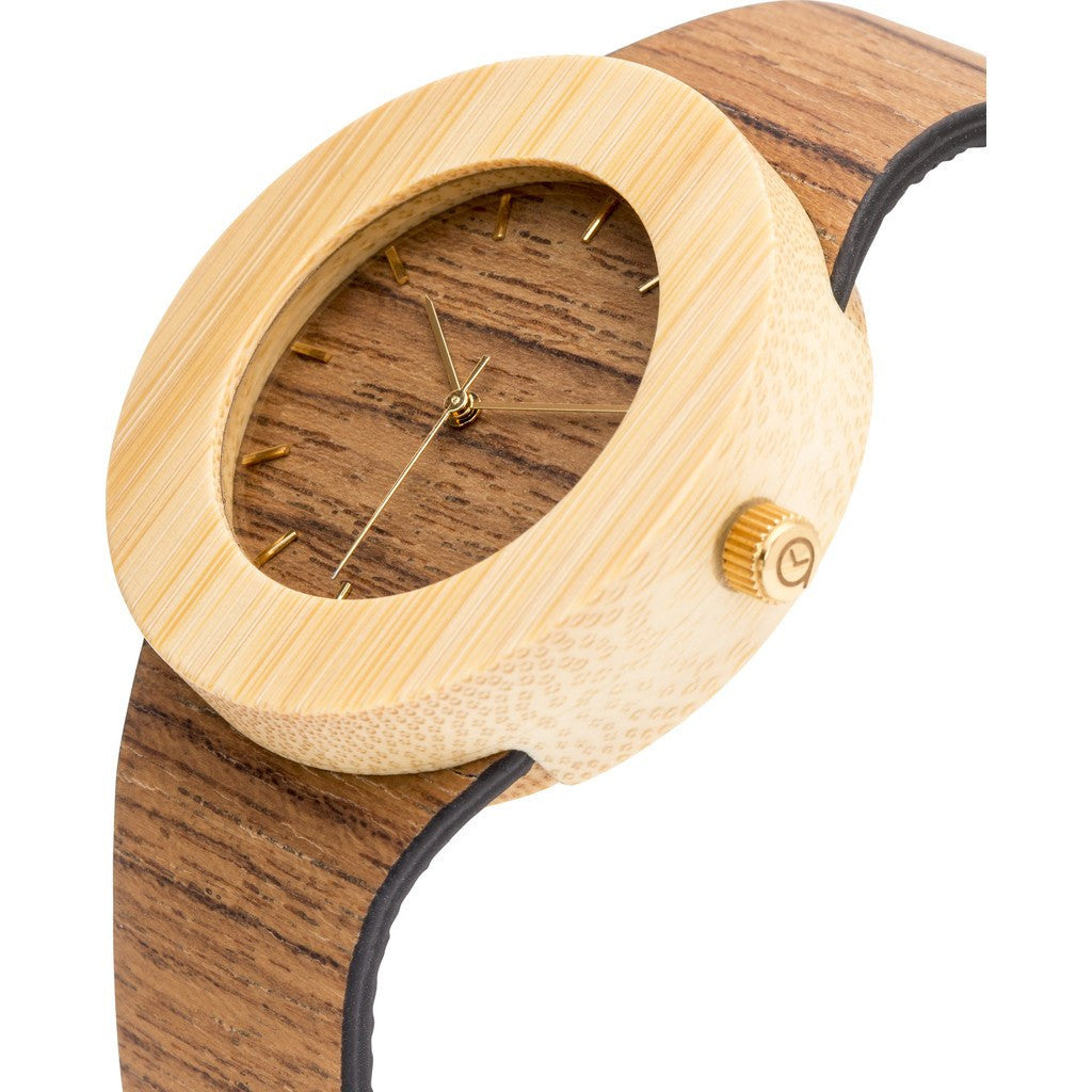 Analog Carpenter Teak & Bamboo Wood Watch | Markings