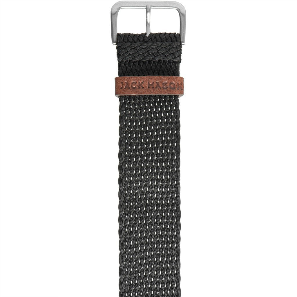 Jack Mason Nautical Watch Strap | Black Perlon JMN-NS-003