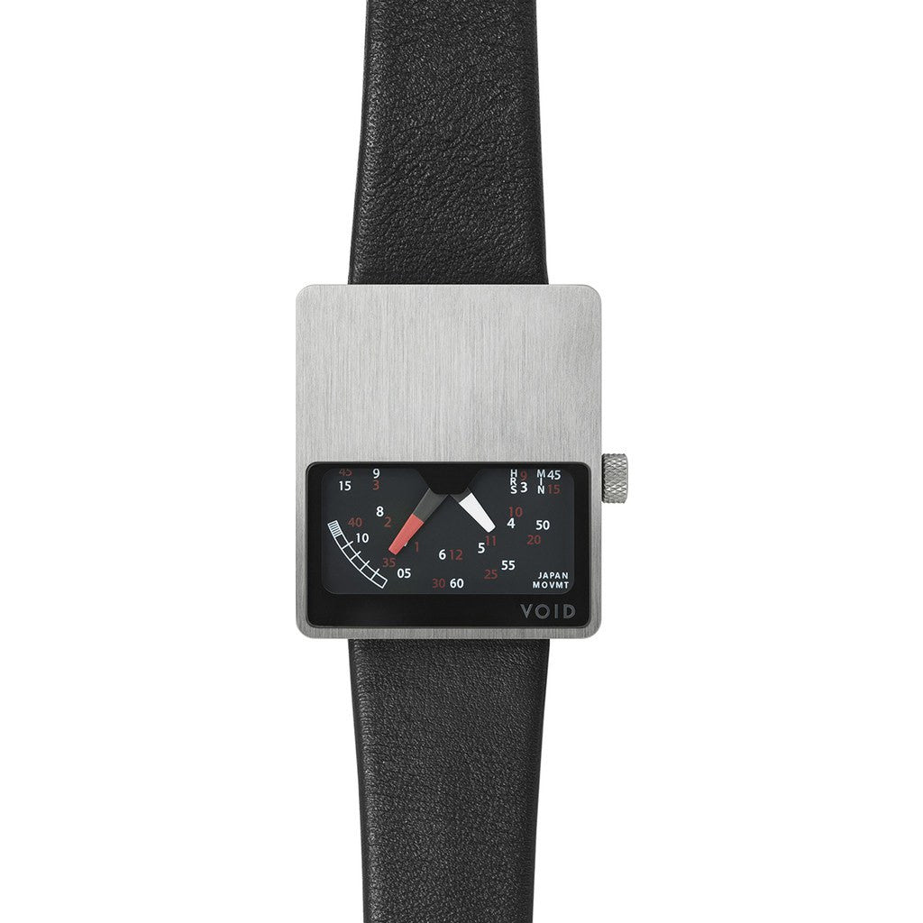 VOID V02 Matte Silver Analogue Watch | Black Leather V02MKII-SI/BL