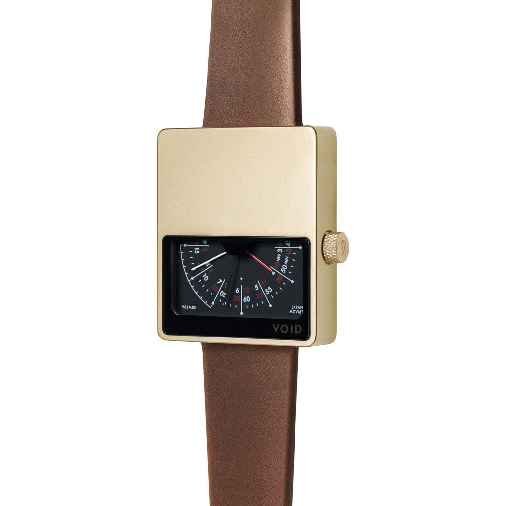 VOID V02 Matte Gold Analogue Watch | Light Brown Leather V02MKII-GO/LB