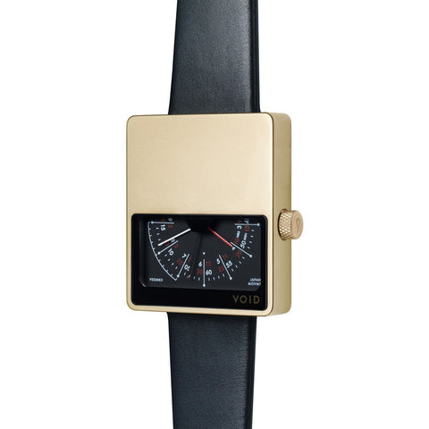 VOID V02MKII Matte Gold Analogue Watch | Black Leather