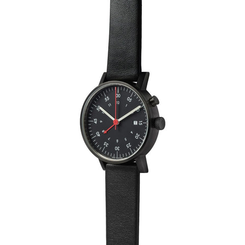 VOID V03A Round Alarm Black Watch | Black Leather V03A-BL/BL/BL