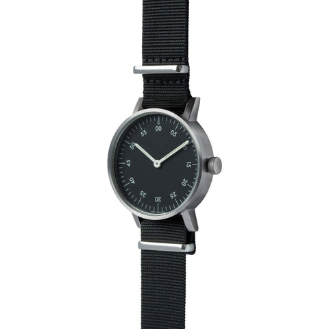 VOID V03B Brushed Round Basic Black Watch | Black Nylon V03B-BR/BL/BL