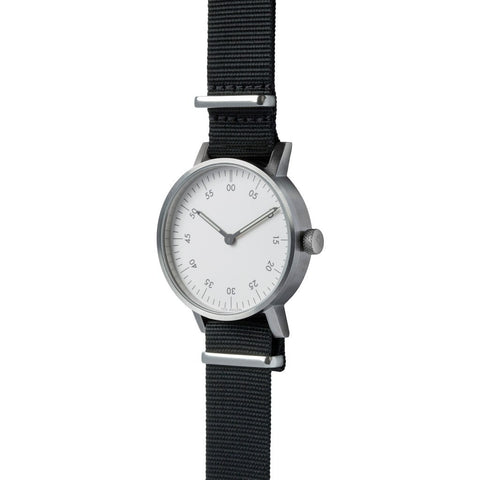 VOID V03B Brushed Round Basic White Watch | Black Nylon V03B-BR/BL/WH