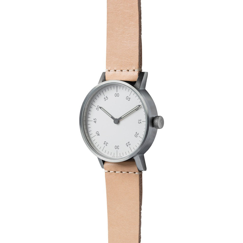VOID V03B Brushed Round Basic White Watch | Natural Tan Leather V03B-BR/TN/WH